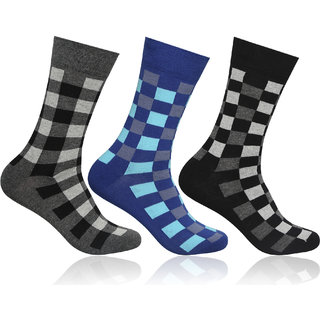 Supersox Mens Pack of 3 Regular Combed Cotton Checked Socks (Combo 2)