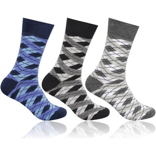 Supersox Mens Pack of 3 Regular Combed Cotton Argyle Socks (Combo 1)