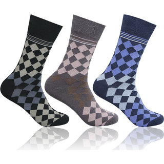 Supersox Mens Pack of 3 Regular Combed Cotton Design Socks (Combo 1)