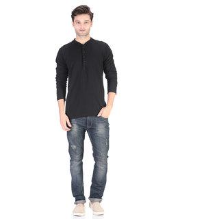 COFAGIF Henley Full Sleeve Men's  Black T-Shirt