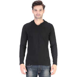 COFAGIF Hooded Full Sleeve Men's  Black T-Shirt