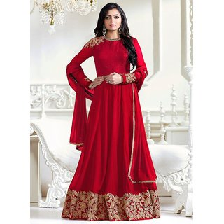 FKART Red Georgette Embroidered Anarkali Suit Material