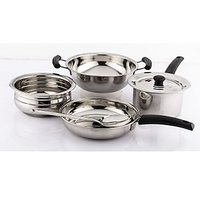 Mahavir Stainless Steel 6 Pcs Induction Base Cookware Set
