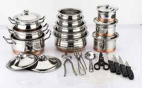 Mahavir 26Pc Stainless Steel Induction Friendly Copper Bottom With Knife Set (No. of Pieces 26)