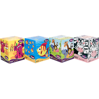 Biowipe Kids Facial Tissue -2 Ply 90 Pulls (180 Sheets) Pack of 4-360 Pulls (720 Sheets)