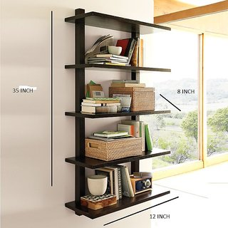 New Look 5 Tier Wooden Black Shelves(Mbd007D)