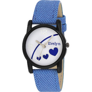 Evelyn Danim White Dial Blue Strap Stylish Analogue Watch For Girls-Eve-590