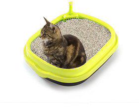 Jumbo Size Litter Tray cum Potty Training with Scoop for Cat / Kitten / Puppy / Rabbit / Guinea Pig / Ferret (Yellow)