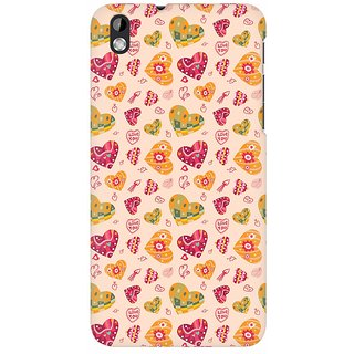 Mobicture Cute Pink Hearts Premium Printed High Quality Polycarbonate Hard Back Case Cover For HTC Desire 816 With Edge To Edge Printing