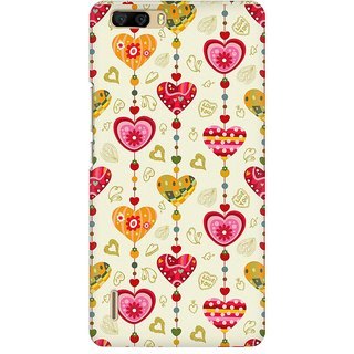 Mobicture Hearts Premium Printed High Quality Polycarbonate Hard Back Case Cover For Huawei Honor 6 Plus With Edge To Edge Printing