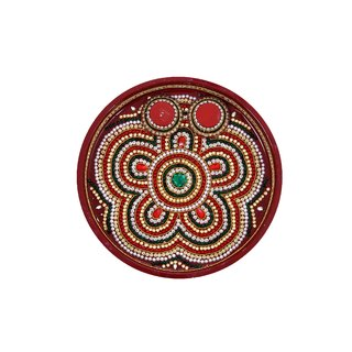 Divine Cart Special Handycrafted Meenakari  Powder coated Pooja Thalis  Puja Thali - 11 Inches