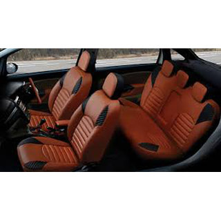 buy musicar hyundai verna orange leatherite car seat cover with 1 year warranty and steering. Black Bedroom Furniture Sets. Home Design Ideas