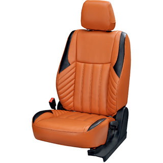 Musicar Ford Figo Orange Leatherite Car Seat Cover with 1 Year Warranty And Steering cover Free