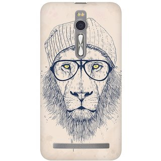 Mobicture Cool Lion Premium Printed High Quality Polycarbonate Hard Back Case Cover For Asus Zenfone 2 With Edge To Edge Printing