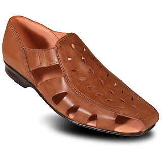 Kwickk Men's Tan Slip On Sandals