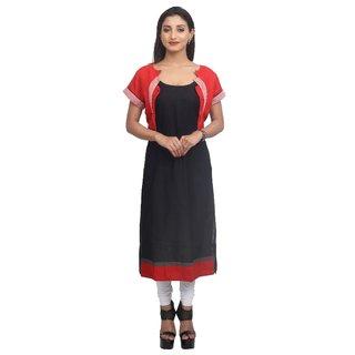 Priyaz Jute Jacket and Cotton Body Black Straight Cut Kurti
