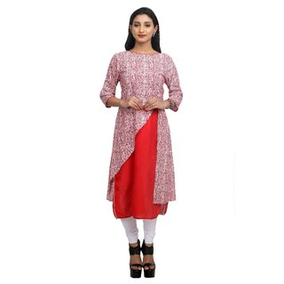 Priyaz Cotton Red A-line Kurti