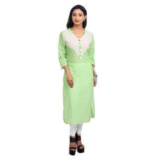 Priyaz South Cotton Light Green Straight Cut Kurti