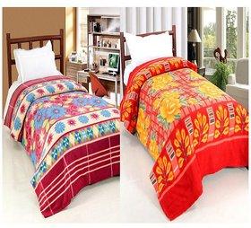 Peponi Pack of 2 Floral Printed Fleece Single Blanket -Multi (55X90) inch