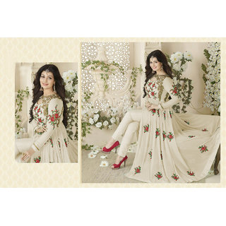 Fkart Stylish Cream Colour Georgette Anarkali DressMaterial
