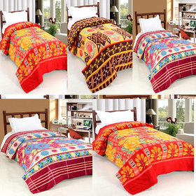 Peponi  Pack of 5 Floral Printed Double Bed 700 Gm Fleece  Blanket (90X90)inch