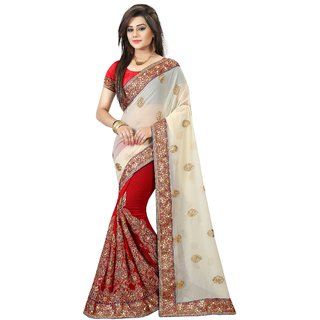 B Bella Creation Red,Cream Georgette,Dupion Silk Embroidered Saree With Blouse