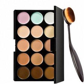 m.n  15 Colors Contour Face Creme Makeup Concealer Palette + Make up Brush Pack of 2-C357  (Set of 2)