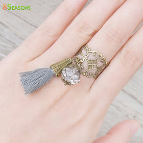 Adjustable Rings Antique Bronze Wtih Clear Faceted Bead Cotton Gray Tassel