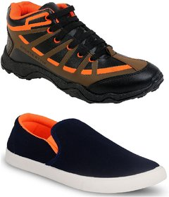 Chevit Men's Combo Pack of 2 Running Shoes With Loafers (Casual Shoes)