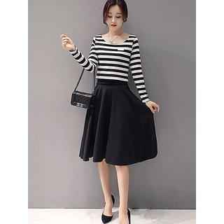 Westchic Black with White STRAIP OLIVIA Midi Dress