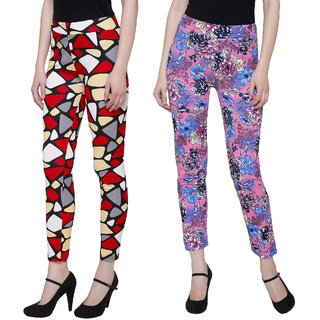 Pack of 2 Printed treggings Black  Abstract and Pink flower print