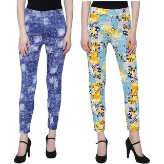 Pack OF 2 Printed Treggings Blue and Green