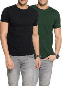 Zorchee Men's Round Neck Half Sleeve Cotton Plain T-Shirts (Pack of 2) - Black  GreenSmall