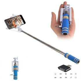 Combo of Mini Selfie Stick  Otg Adapter-Assorted Color