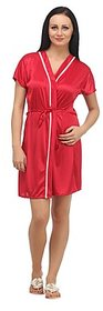 Klamotten Nice Red Satin Robe Sleepwear