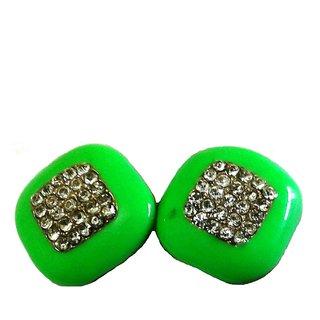 Fashion Back Clip Green Earrings - 750