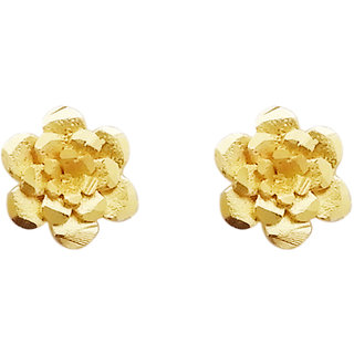JewelMaze Gold Plated Zinc Alloy Floral Stud Earring -1311727