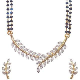 Bhagya Lakshmi American Diamond leaf design Mangalsutra Pendant set with earring and Chain for Women