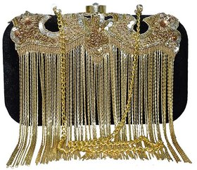 Black velvet metal chain Clutch