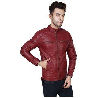 Pu Leather Plain Maroon Winter  Casual wear Biker Jacket For Men  Boys