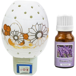 Cocodoes Electric Ceramic Aroma Gold Diffuser with Aroma Oil 10ML(LAVENDER) for office hotel home fragrance