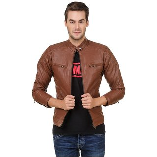 Pu Leather Plain Brown Winter  Casual wear Biker Jacket For Men  Boy