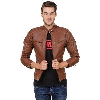 Buy Pu Leather Plain Brown Winter Casual Wear Biker Jacket For Men