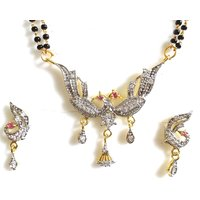 Elegant Wedding CZ Gold And Rhodium Plated Peacock Mangalsutra Pendant Set