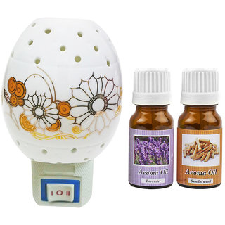 Cocodoes Electric Ceramic Aroma Gold Diffuser with Aroma Oil 10ML(LAVENDER SANDALWOOD) for office hotel home fragrance