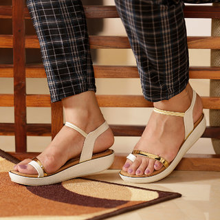 Funku Fashion Women White Sandal