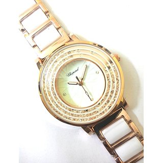 CHOPARD Crystals Filled White Women Watch, Rose Gold + White Strap, White Dial