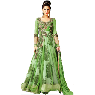 FKART Green Georgette Embroidered Anarkali Suit Material
