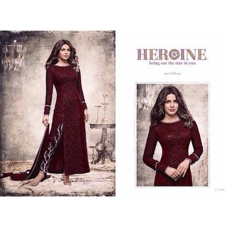 FKART Maroon Georgette Embroidered Salwar Suit Material (Unstitched)