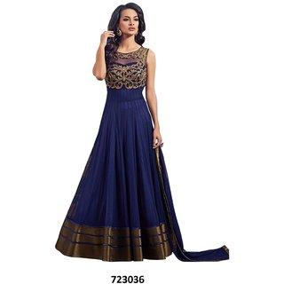 FKART Blue Net Embroidered Anarkali Suit Material